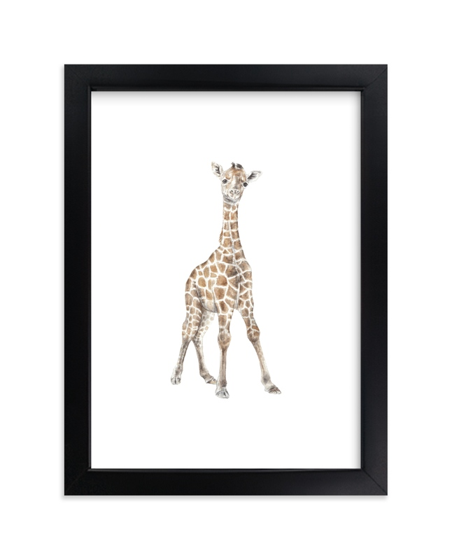 """Baby Giraffe Watercolor"" by Lauren Rogoff in beautiful frame options and a variety of sizes."