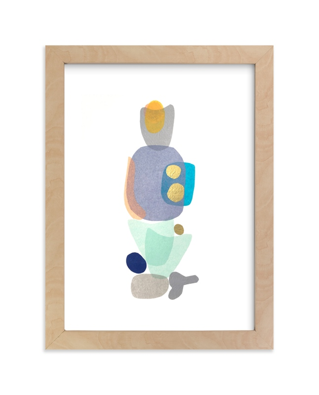 """navy blue gold totem"" by tina johnson in beautiful frame options and a variety of sizes."