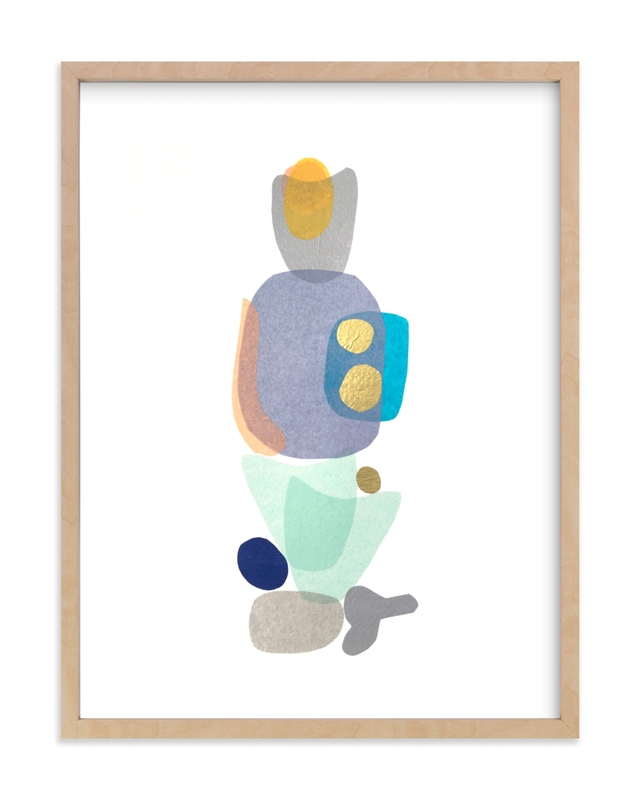 """""""navy blue gold totem"""" by tina johnson in beautiful frame options and a variety of sizes."""