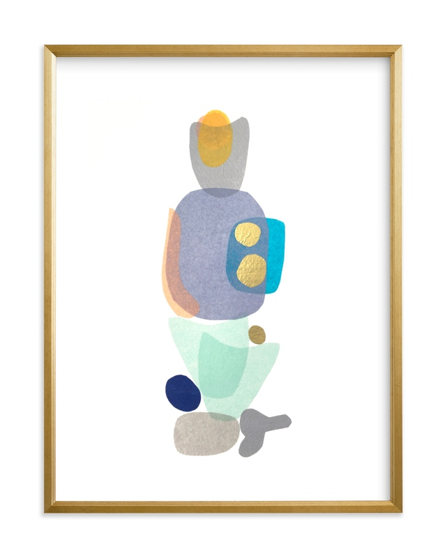 navy blue gold totem Kids Open Edition Non-Custom Art Print