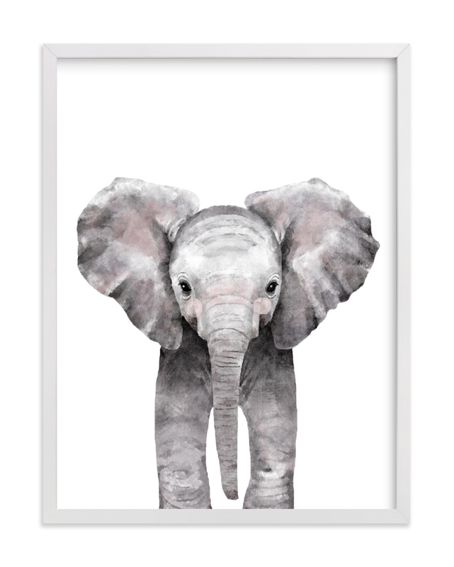This is a grey art by Cass Loh called Baby Animal Elephant with standard.