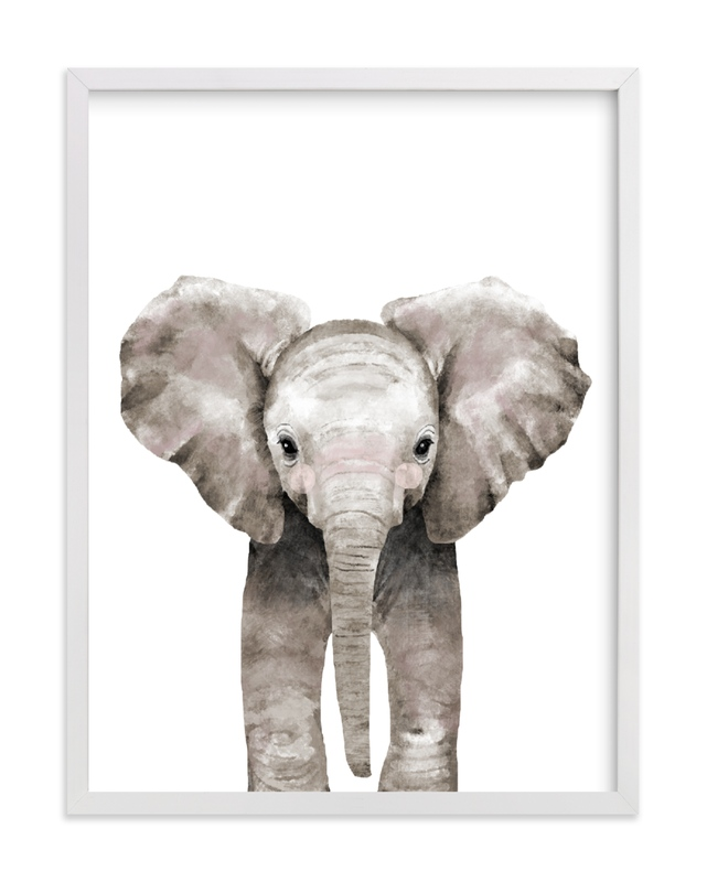 This is a brown art by Cass Loh called Baby Animal Elephant with standard.