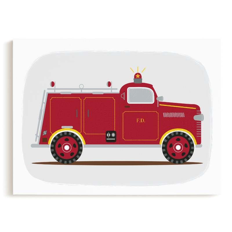 Red Fire Engine #1 Kids Open Edition Non-Custom Art Print