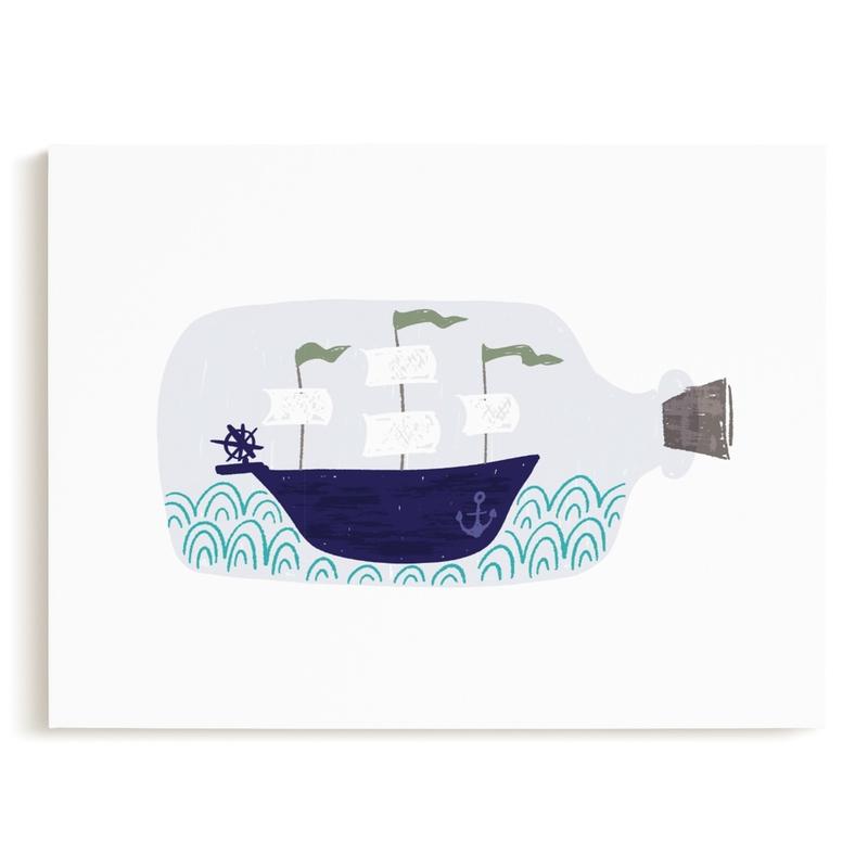 Little Sail Boat Bottle Kids Open Edition Non-Custom Art Print