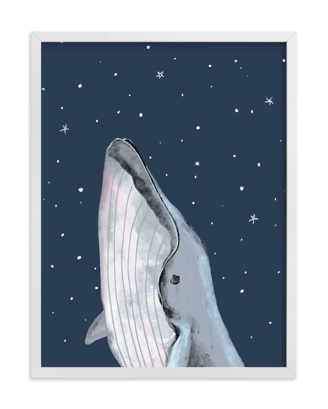 This is a blue art by Cass Loh called starry sky whale with standard.