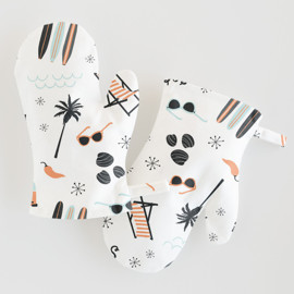 This is a colorful kids apron by Kristie Kern called Socal.