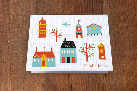 Little Town Folded Children's Stationery