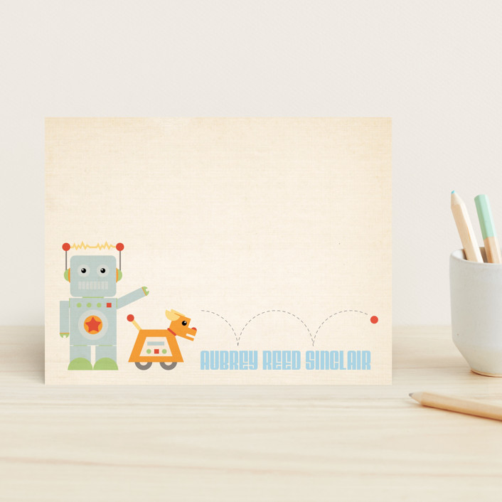 """Fetch!"" - Hand Drawn Children's Stationery in Metal Blue by Dawn Jasper."