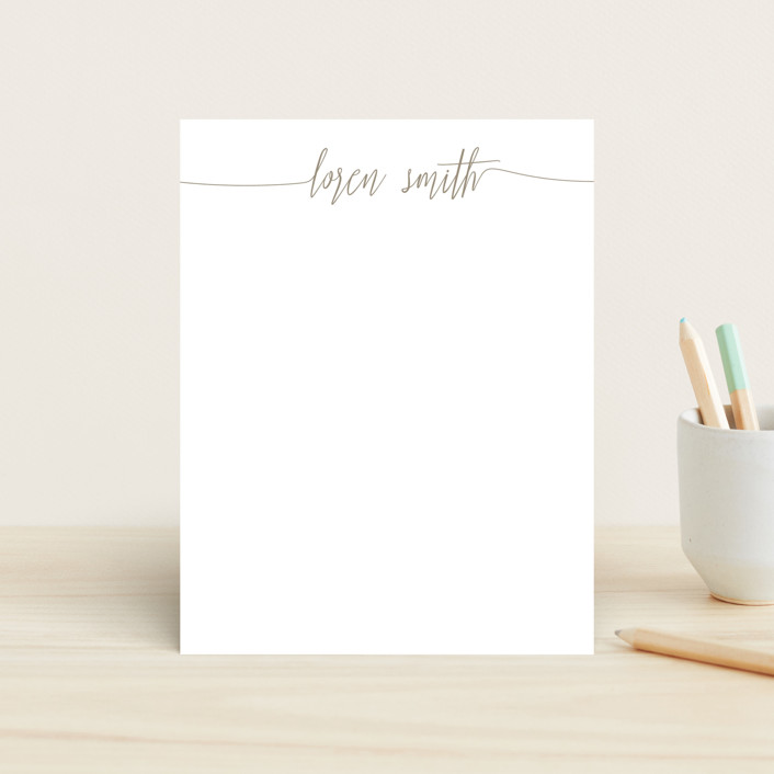 """My Name Is"" - Children's Stationery in Taupe by Phrosne Ras."