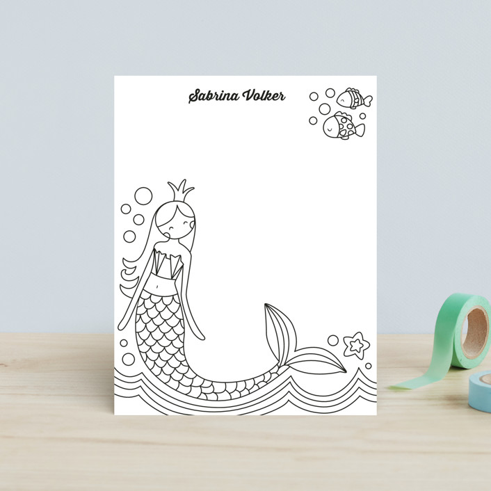 """""""Siren"""" - Hand Drawn, Whimsical & Funny Children's Stationery in Deep Sea by peetie design."""