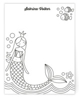 This is a black and white kids thank you cards note by peetie design called Siren with standard printing on signature in standard.