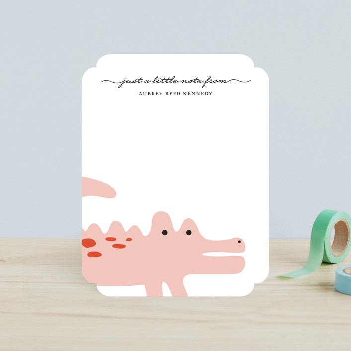 """Little Alligator"" - Children's Stationery in Bubblegum by Emily Ranneby."
