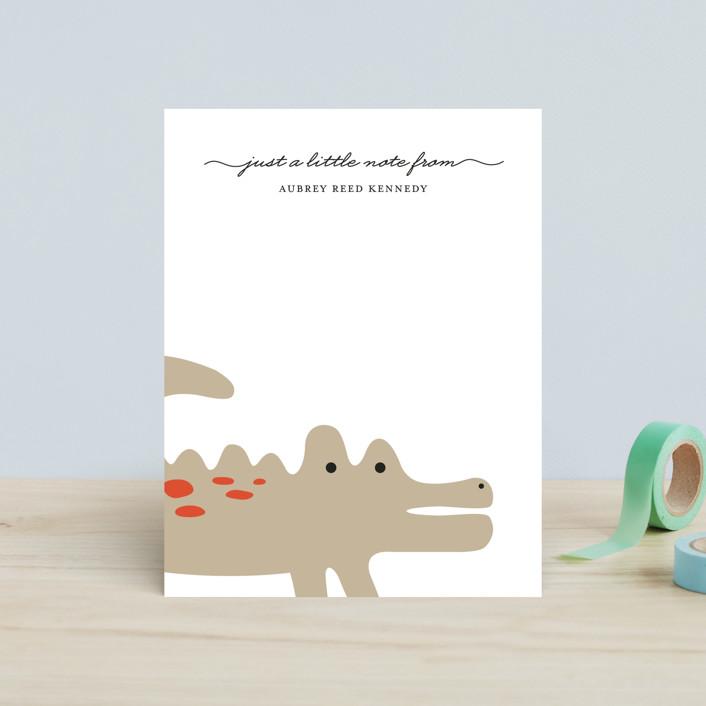"""""""Little Alligator"""" - Children's Stationery in Bubblegum by Emily Ranneby."""