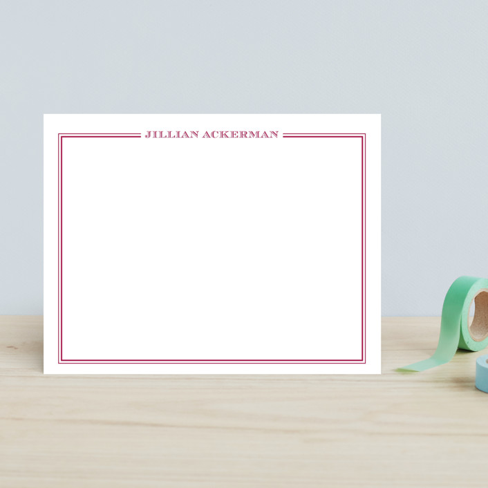 """""""the lady"""" - Children's Stationery in Fuchsia Rose by The Social Type."""