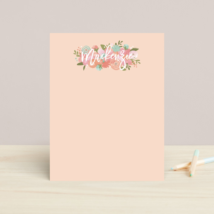 """""""Blooming Peonies"""" - Children's Stationery in Peach by Jennifer Wick."""
