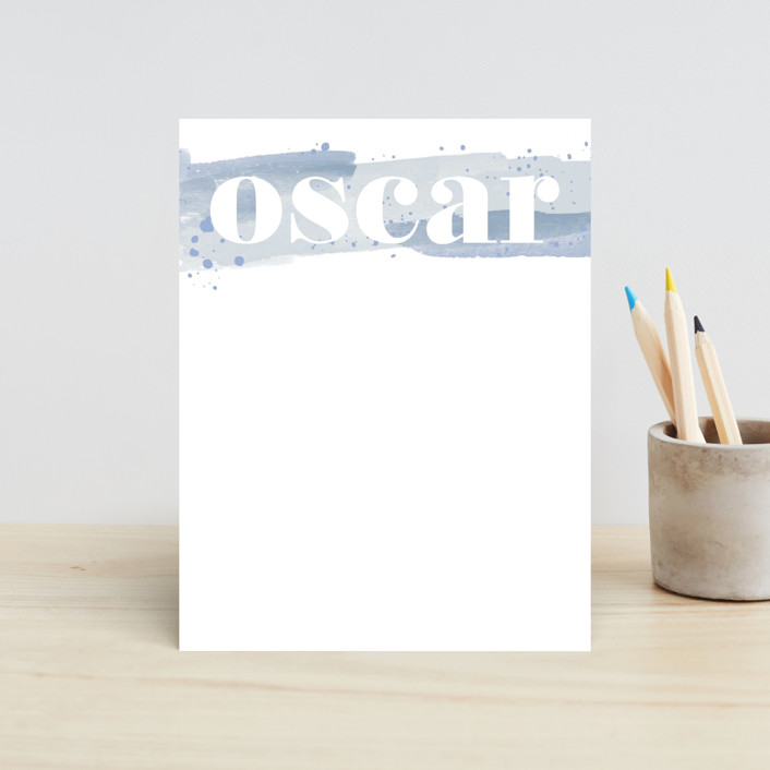 """Painted Splash Name"" - Children's Stationery in Aqua by Alethea and Ruth."