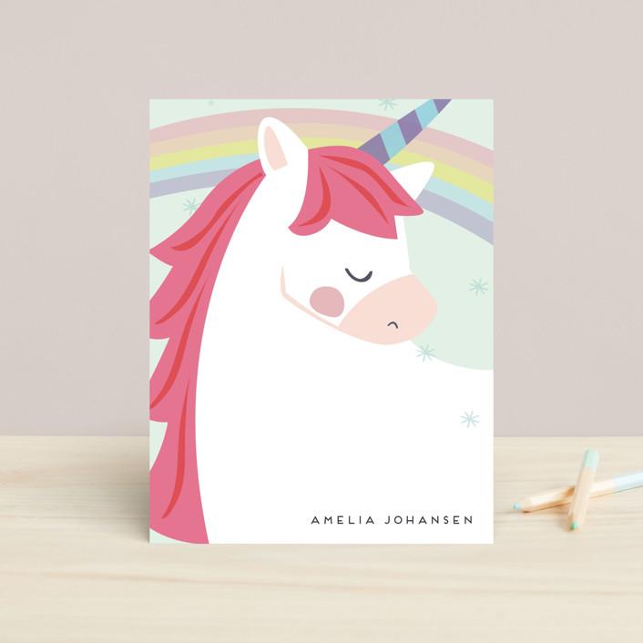 """unicorno"" - Whimsical & Funny Children's Stationery in Bubblegum by peetie design."