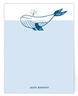 This is a blue kids thank you cards note by Erika Firm called Whale with standard printing on signature in standard.