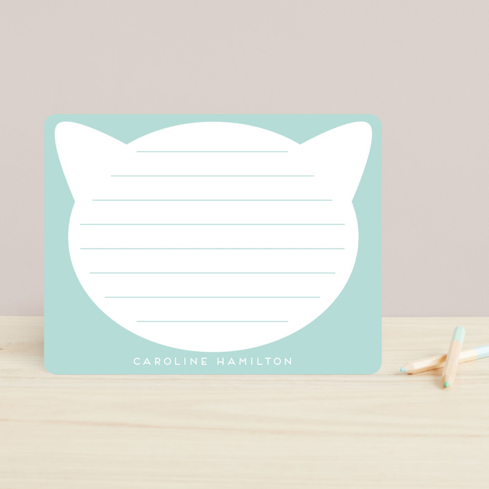 """Cute Cat"" - Whimsical & Funny Children's Stationery in Aqua by Alexandra Dzh."
