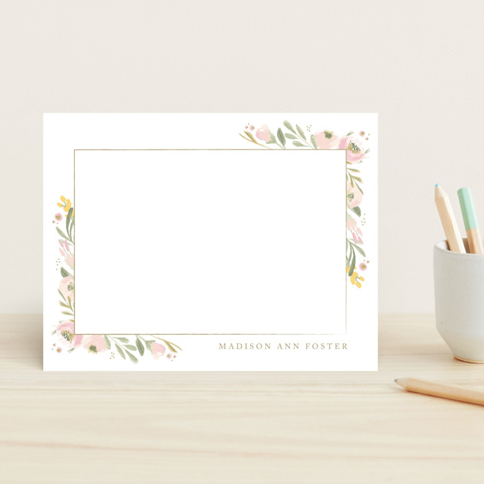 """""""brush of florals"""" - Children's Stationery in Mustard by frances."""