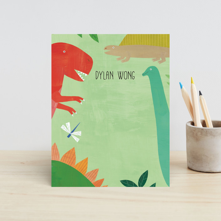 """""""Let's Roar DInosaur"""" - Whimsical & Funny Children's Stationery in Forest by melanie mikecz."""