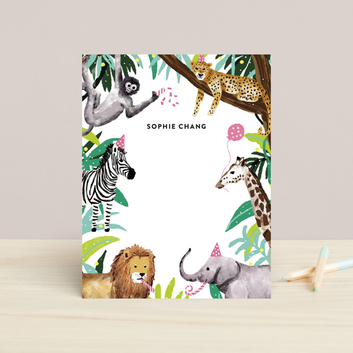 """Jungle Party"" - Whimsical & Funny Children's Stationery in Dragon Fruit by Cass Loh."