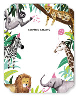 This is a green kids thank you cards note by Cass Loh called Jungle Party with standard printing on signature in standard.