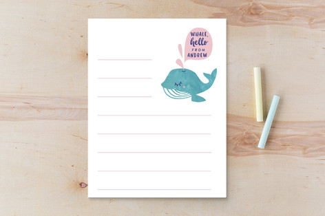 whale hello there Children's Stationery