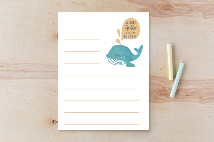 """whale hello there"" - Children's Stationery in Coral by Kanika Mathur."