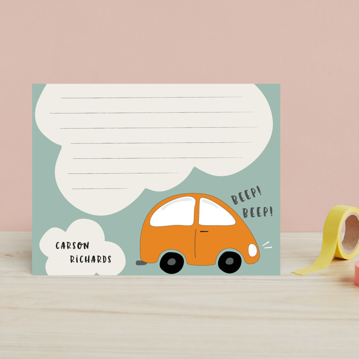 """doodle car"" - Whimsical & Funny Children's Stationery in Citrus by Faith Dorn."