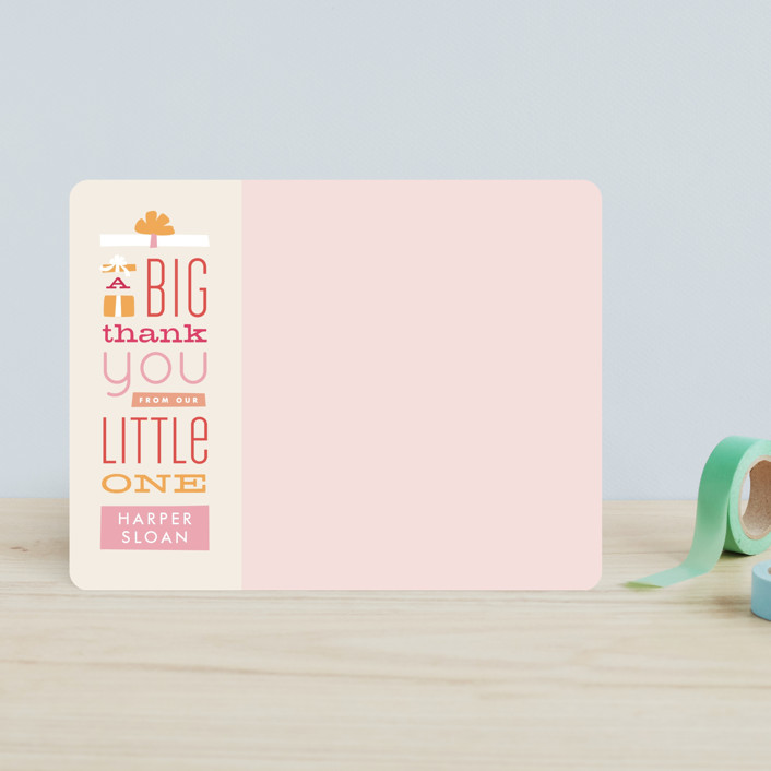 """Gifted Thanks"" - Preppy Children's Stationery in Bubblegum by Jennifer Wick."