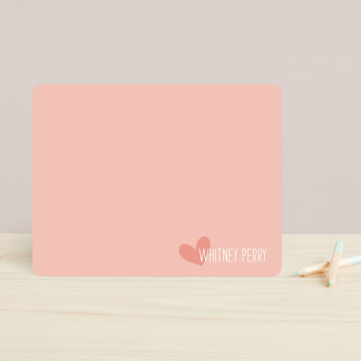 """Love From"" - Modern, Simple Children's Stationery in Strawberry by Kim Dietrich Elam."
