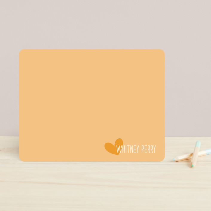 """""""Love From"""" - Modern, Simple Children's Stationery in Strawberry by Kim Dietrich Elam."""