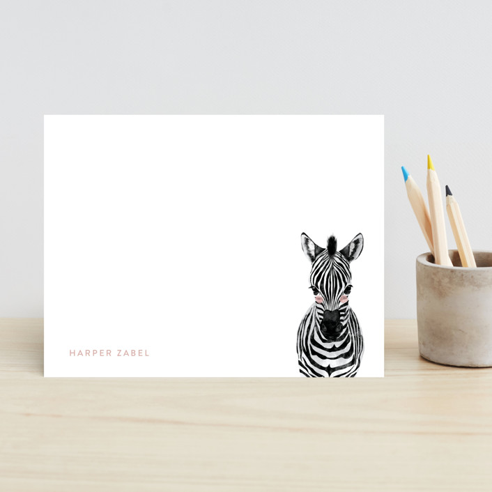 """Baby Animal Zebra"" - Modern, Whimsical & Funny Children's Stationery in Bubblegum by Cass Loh."
