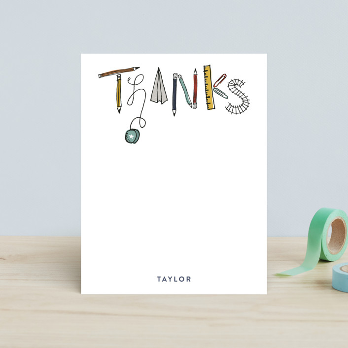 """""""Sketched Thanks"""" - Hand Drawn, Whimsical & Funny Children's Stationery in Dusty Teal by Sarah Curry."""