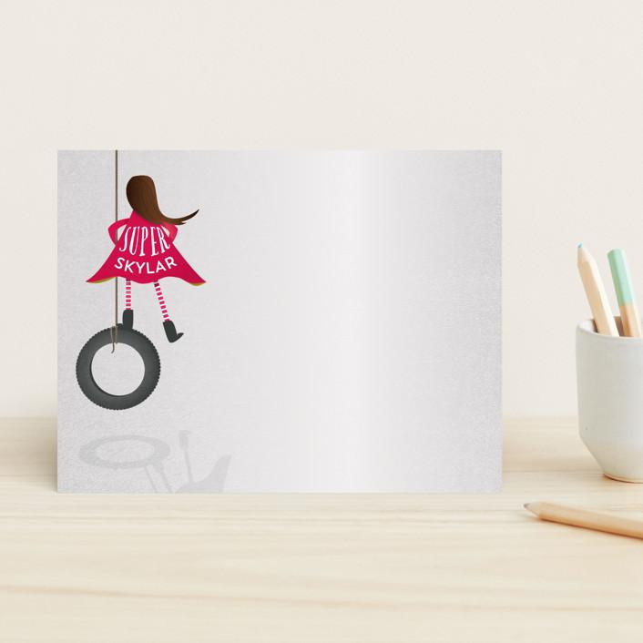 """Super Imagination Girl"" - Hand Drawn, Whimsical & Funny Children's Stationery in Brunette by Grace Kreinbrink."