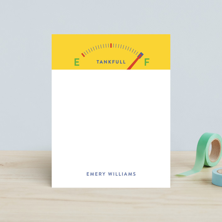 """Tanks"" - Modern Children's Stationery in Lemon by Susan Brown."