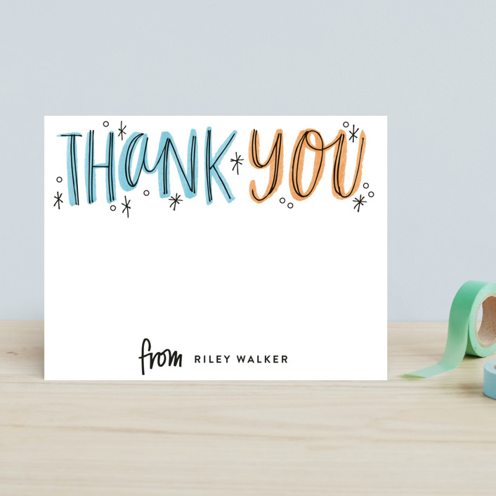 """Thank You Outlines"" - Bold typographic Children's Stationery in Tangerine by Alethea and Ruth."
