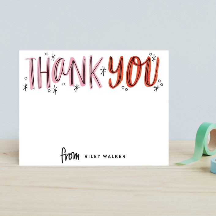 """""""Thank You Outlines"""" - Bold typographic Children's Stationery in Tangerine by Alethea and Ruth."""
