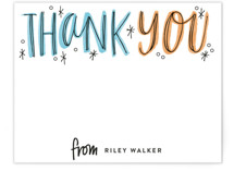 This is a orange kids thank you cards note by Alethea and Ruth called Thank You Outlines with standard printing on signature in standard.