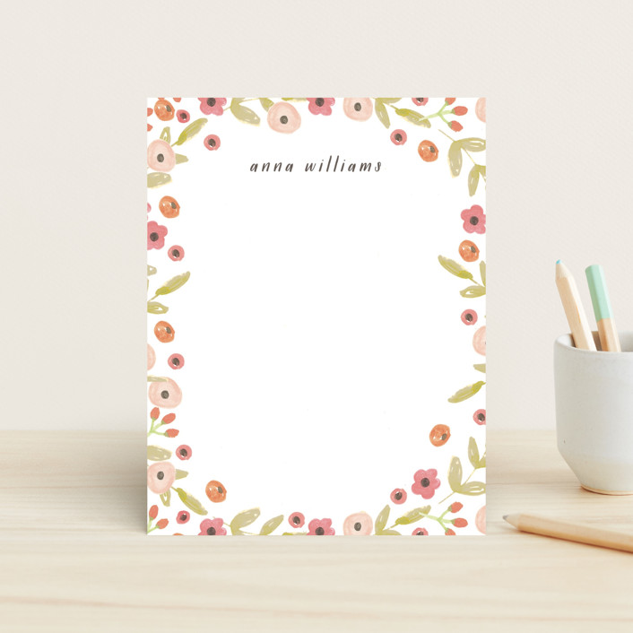 """""""Tiny Flowers"""" - Floral & Botanical Children's Stationery in Poppy by August and Oak."""