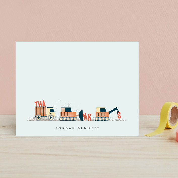 """Trucker Appreciation"" - Whimsical & Funny Children's Stationery in Tangerine by Erica Krystek."