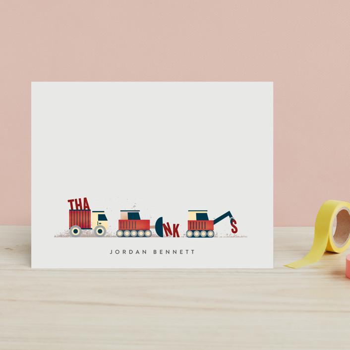 """Trucker Appreciation"" - Whimsical & Funny Children's Stationery in Tangerine by Erica Krystek."
