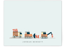 This is a orange kids thank you cards note by Erica Krystek called Trucker Appreciation with standard printing on signature in standard.