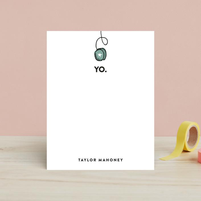 """Yo Yo"" - Hand Drawn, Minimalist Children's Stationery in Dusty Teal by Sarah Curry."