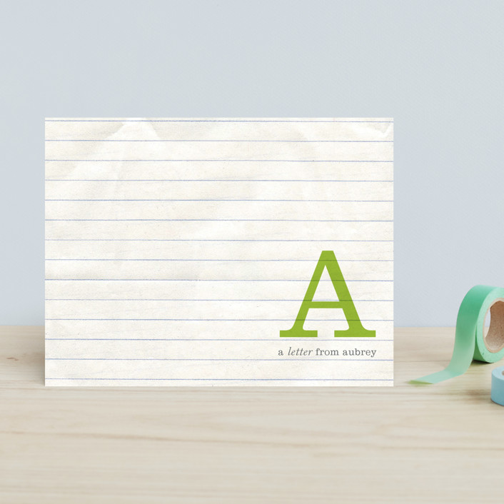 """""""A Letter for You"""" - Vintage, Simple Children's Stationery in Kiwi by Katie Speelman."""