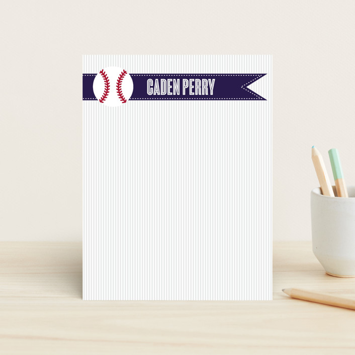 """""""Home Run"""" - Modern, Simple Children's Stationery in Blueberry by Jen St.Clair."""