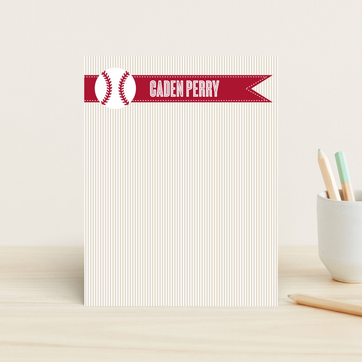 """""""Home Run"""" - Modern, Simple Children's Stationery in Blueberry by Little Sprout Creations."""