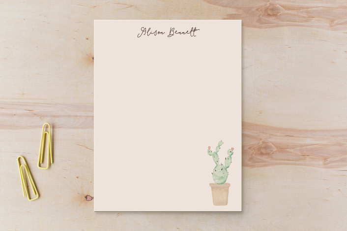 """Pastel Cactus"" - Children's Stationery in Fairy Floss by Kampai Designs."
