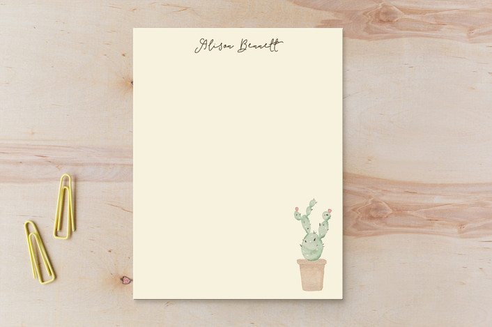 """""""Pastel Cactus"""" - Children's Stationery in Fairy Floss by Kampai Designs."""